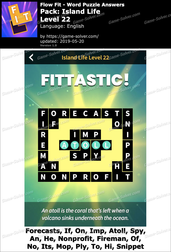 Flow Fit Island Life-Level 22 Answers