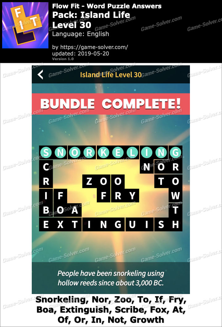 Flow Fit Island Life-Level 30 Answers