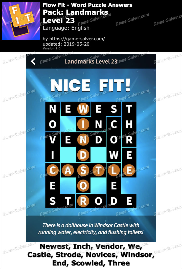 Flow Fit Landmarks-Level 23 Answers