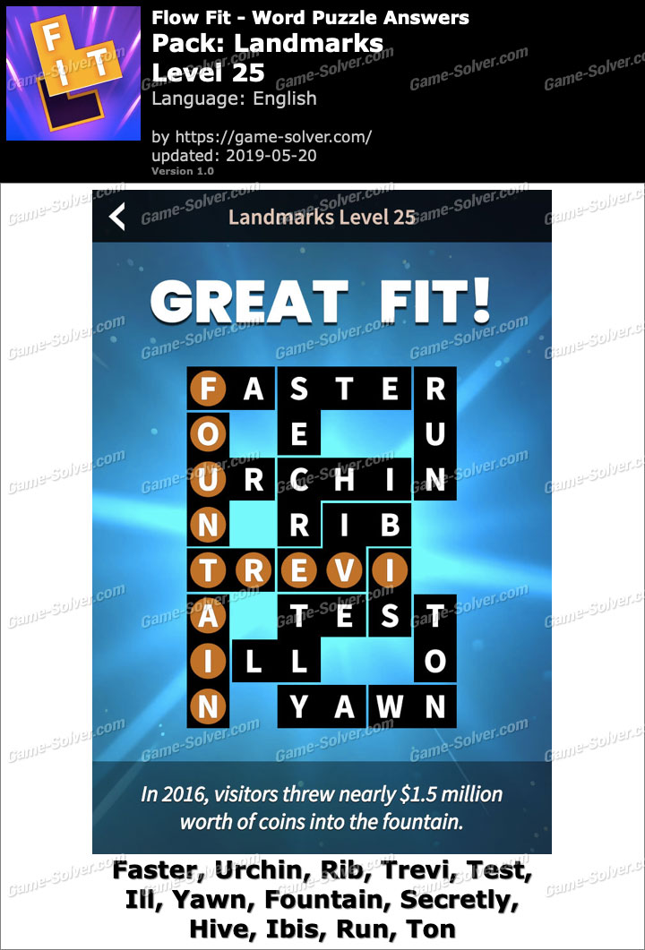 Flow Fit Landmarks-Level 25 Answers