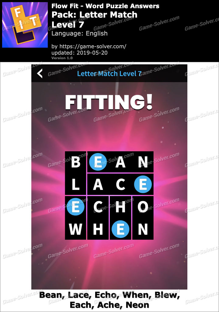 Flow Fit Letter Match-Level 7 Answers