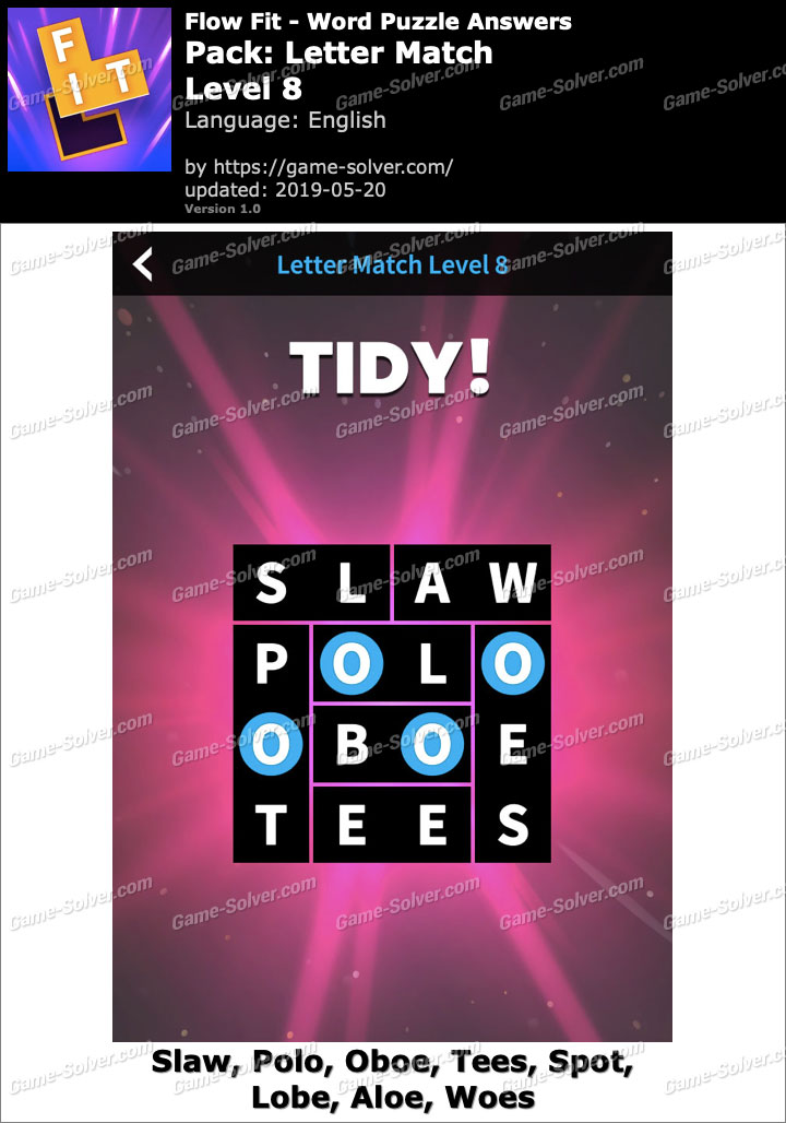Flow Fit Letter Match-Level 8 Answers