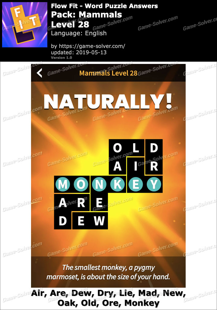 Flow Fit Mammals-Level 28 Answers