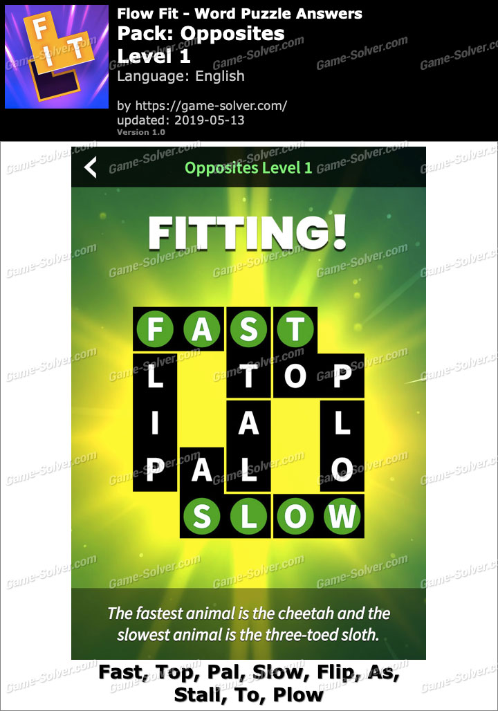 Flow Fit Opposites-Level 1 Answers