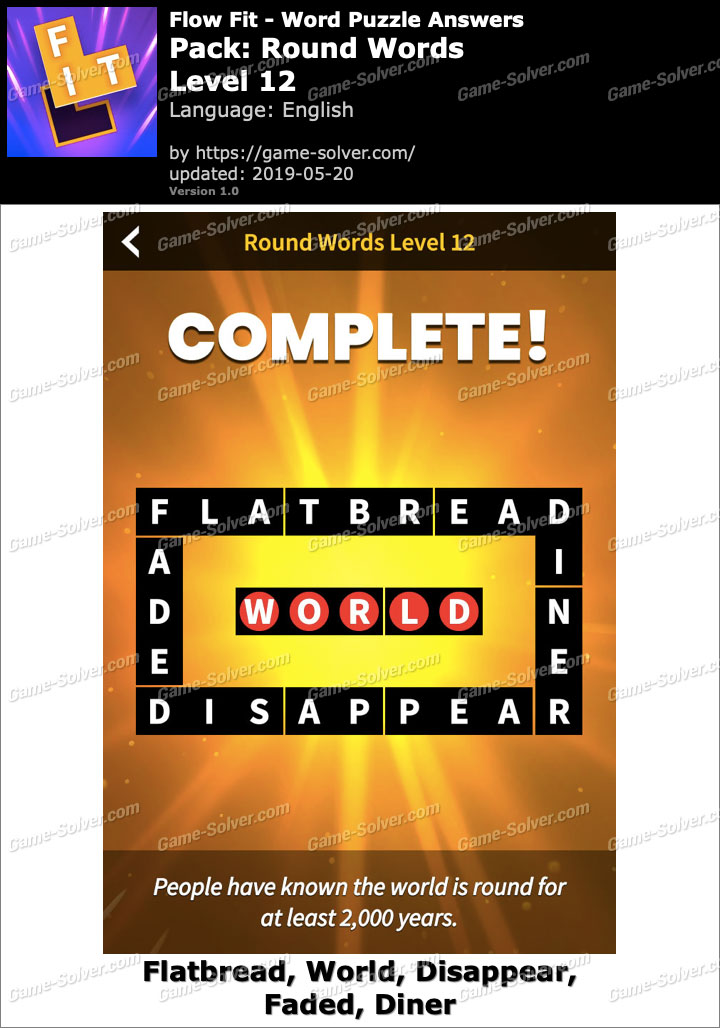 Flow Fit Round Words-Level 12 Answers