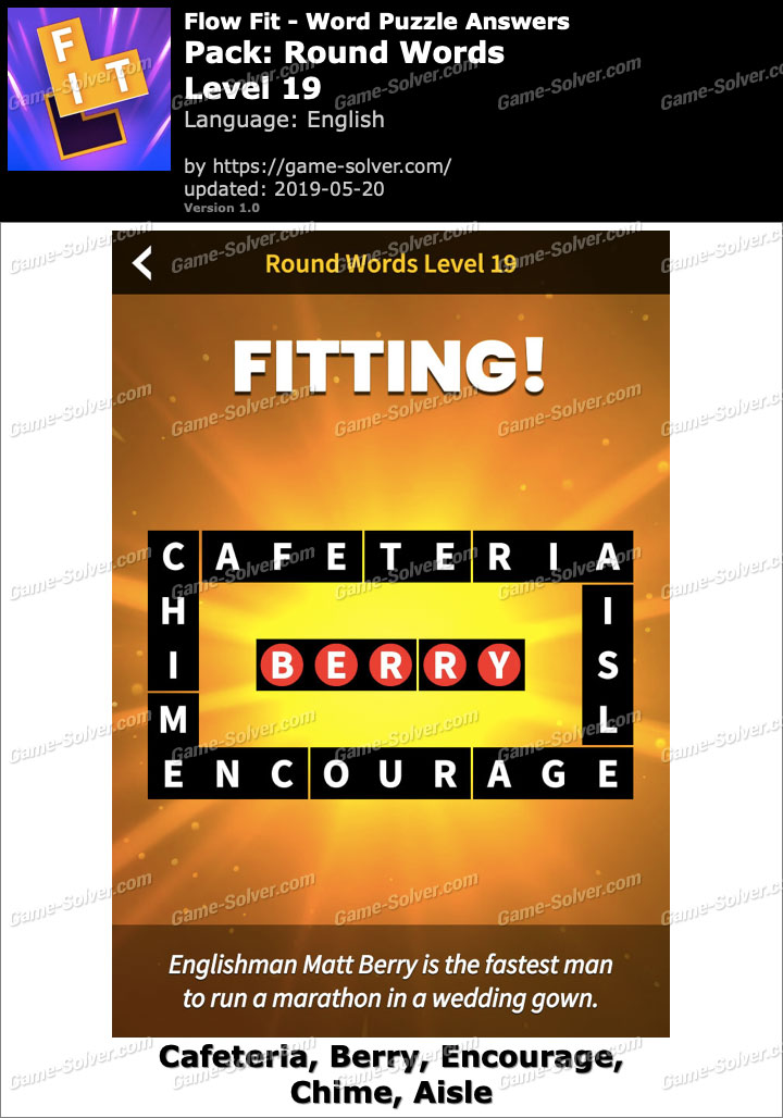 Flow Fit Round Words-Level 19 Answers