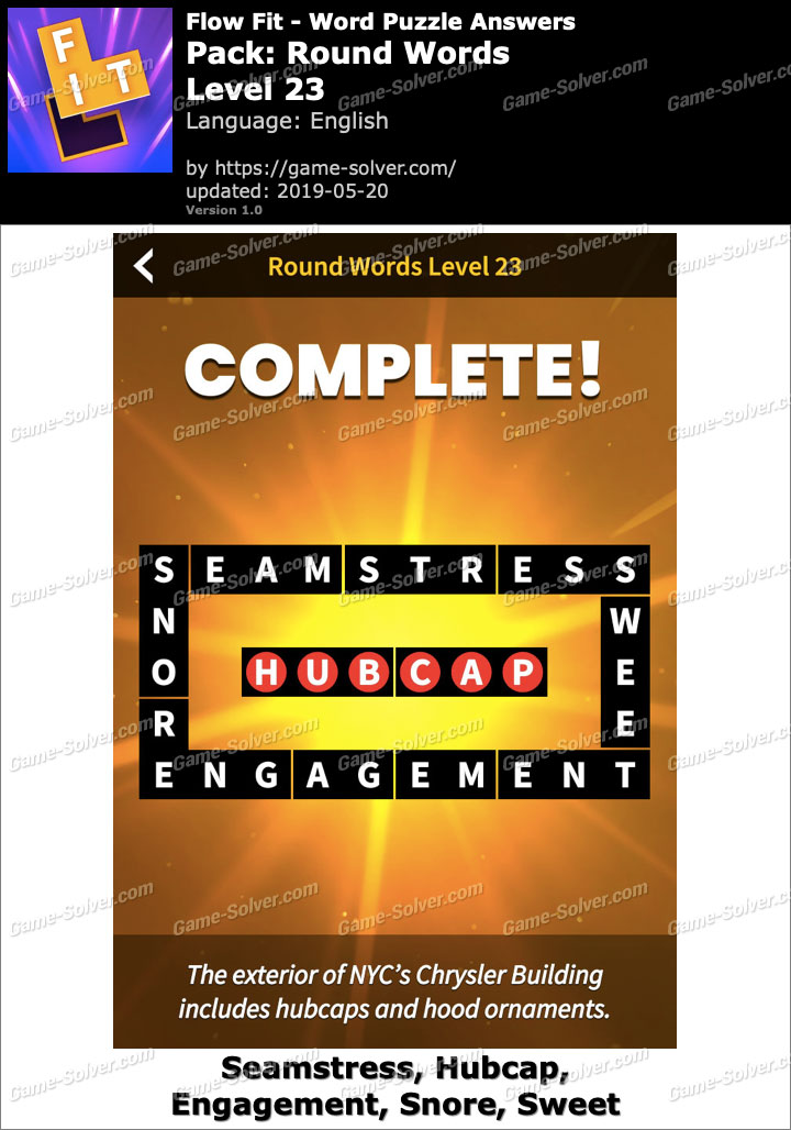 Flow Fit Round Words-Level 23 Answers