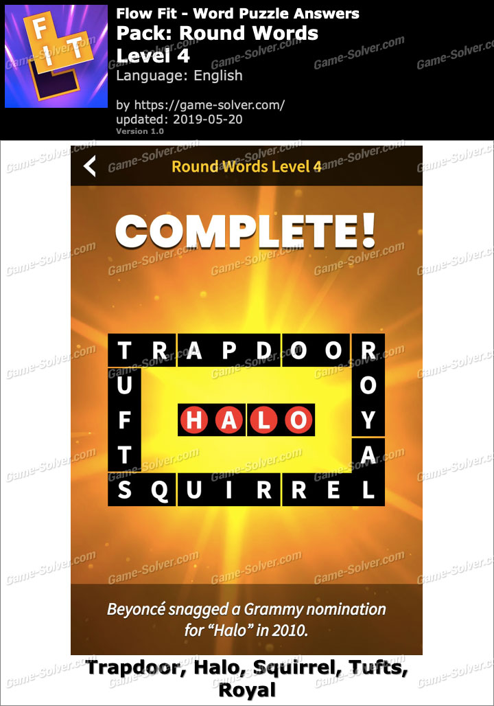 Flow Fit Round Words-Level 4 Answers