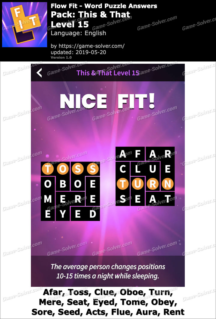 Flow Fit This And That-Level 15 Answers