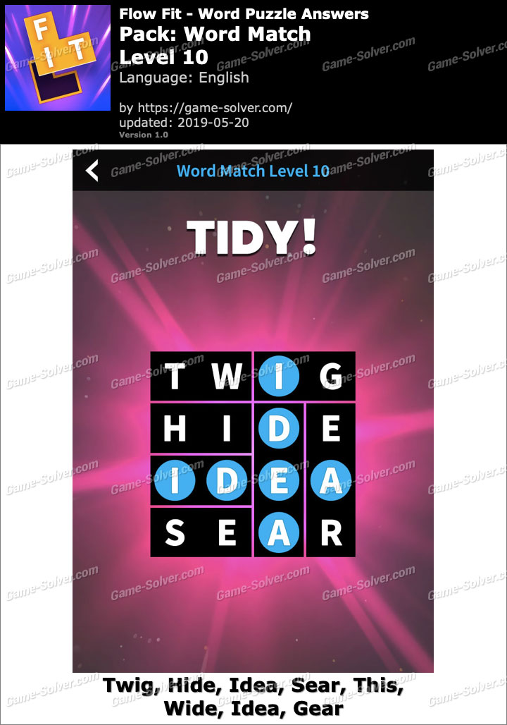 Flow Fit Word Match-Level 10 Answers
