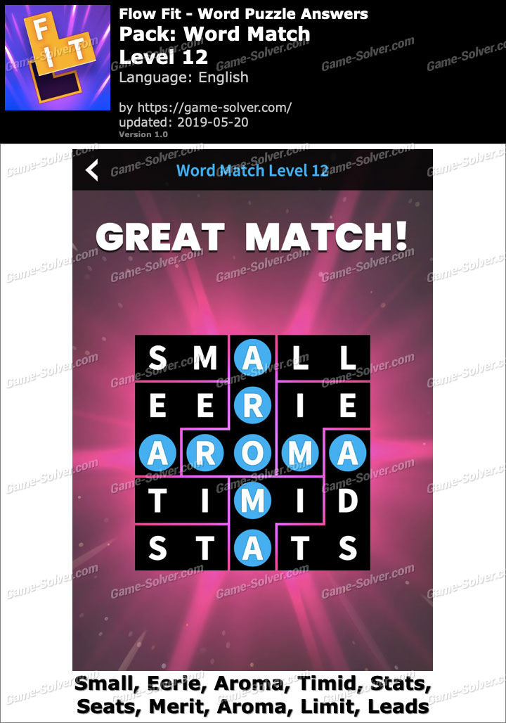 Flow Fit Word Match-Level 12 Answers