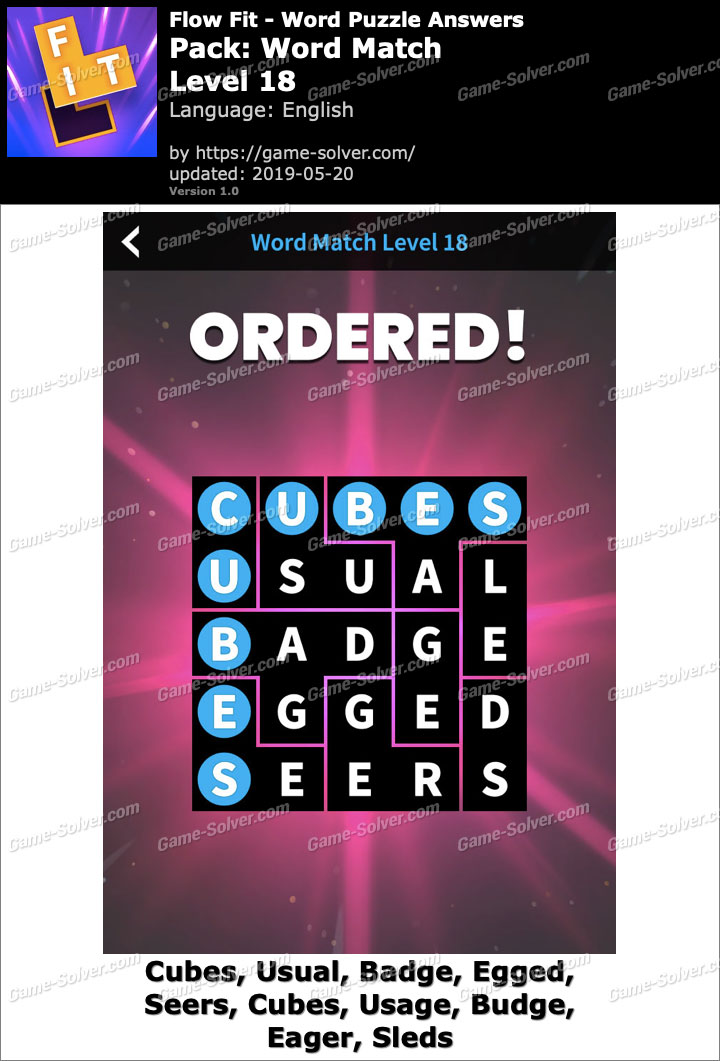 Flow Fit Word Match-Level 18 Answers