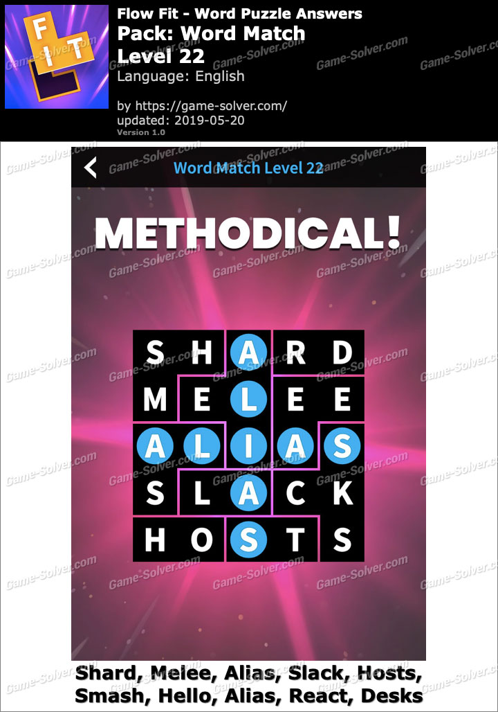 Flow Fit Word Match-Level 22 Answers