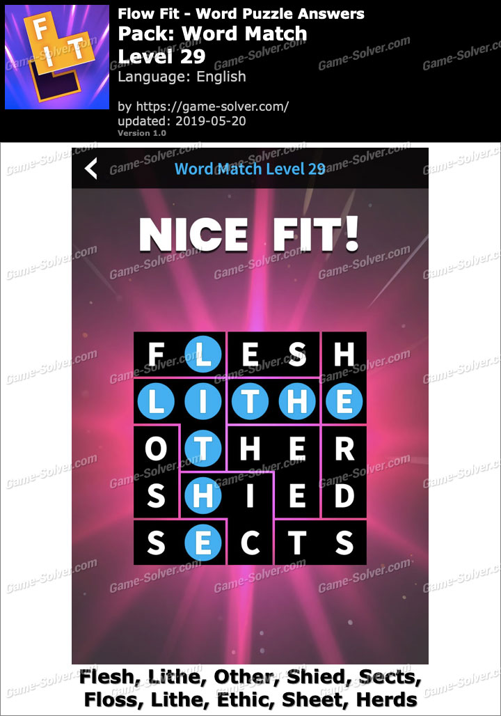 Flow Fit Word Match-Level 29 Answers