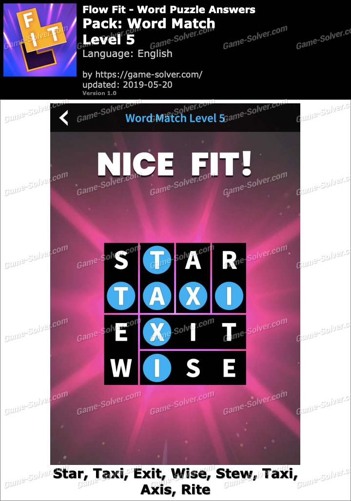 Flow Fit Word Match-Level 5 Answers