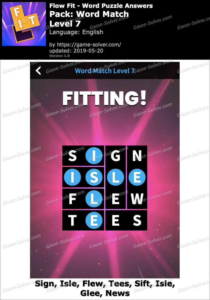 Flow Fit Word Match-Level 7 Answers