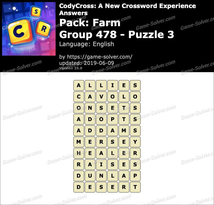 CodyCross Farm Group 478-Puzzle 3 Answers