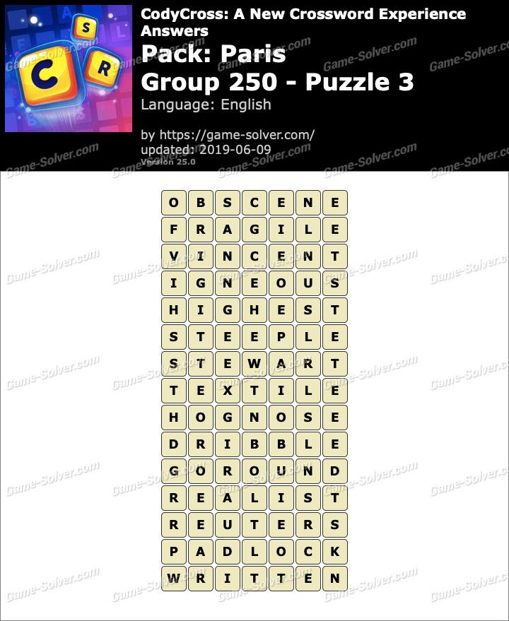 CodyCross Paris Group 250-Puzzle 3 Answers