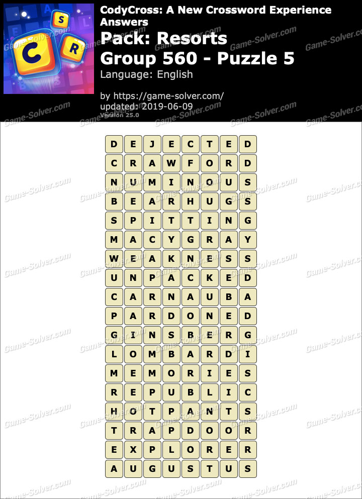 CodyCross Resorts Group 560-Puzzle 5 Answers