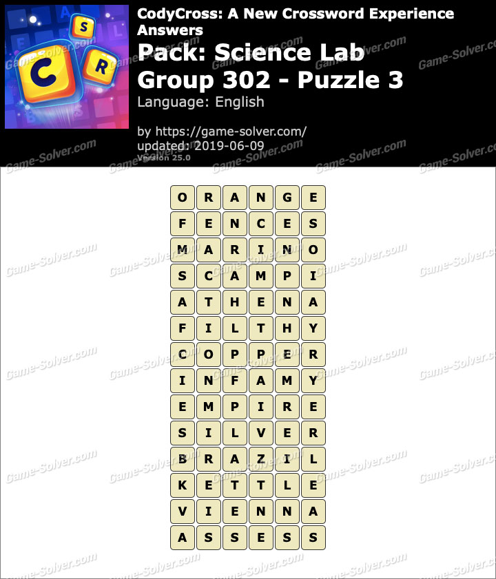 CodyCross Science Lab Group 302-Puzzle 3 Answers