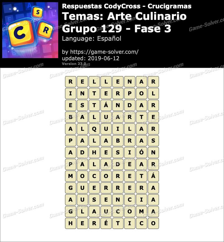 Respuestas CodyCross Arte Culinario Grupo 129-Fase 3