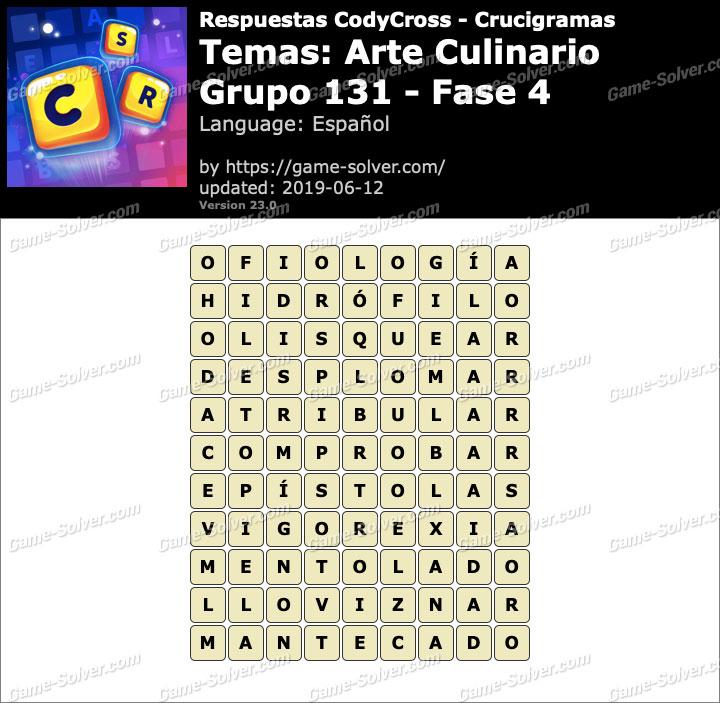 Respuestas CodyCross Arte Culinario Grupo 131-Fase 4