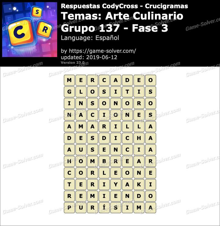 Respuestas CodyCross Arte Culinario Grupo 137-Fase 3