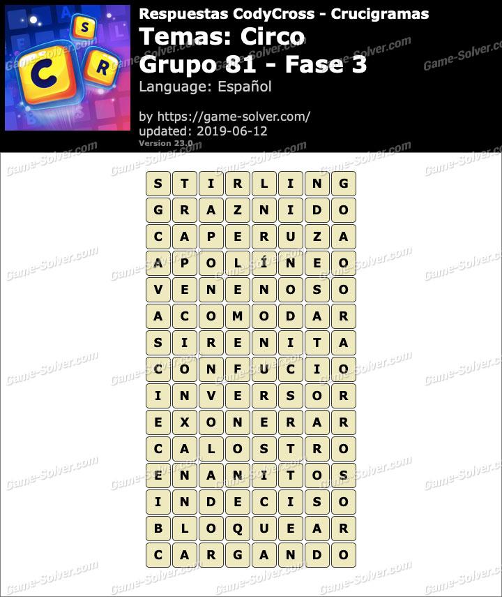 Respuestas CodyCross Circo Grupo 81-Fase 3