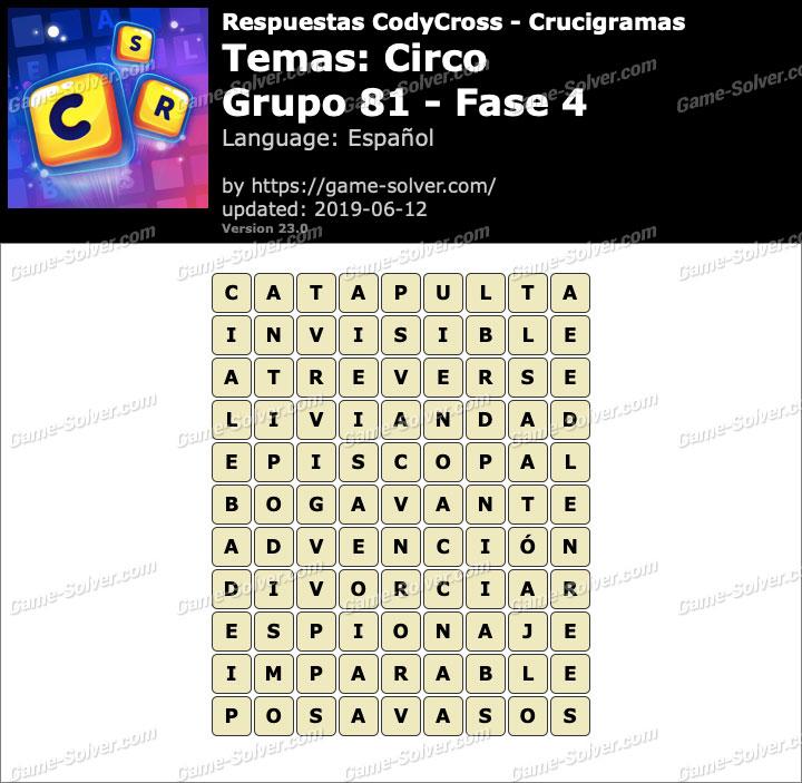 Respuestas CodyCross Circo Grupo 81-Fase 4