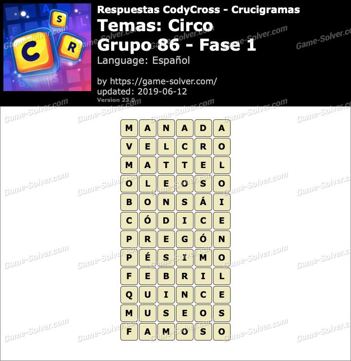 Respuestas CodyCross Circo Grupo 86-Fase 1