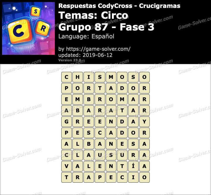 Respuestas CodyCross Circo Grupo 87-Fase 3