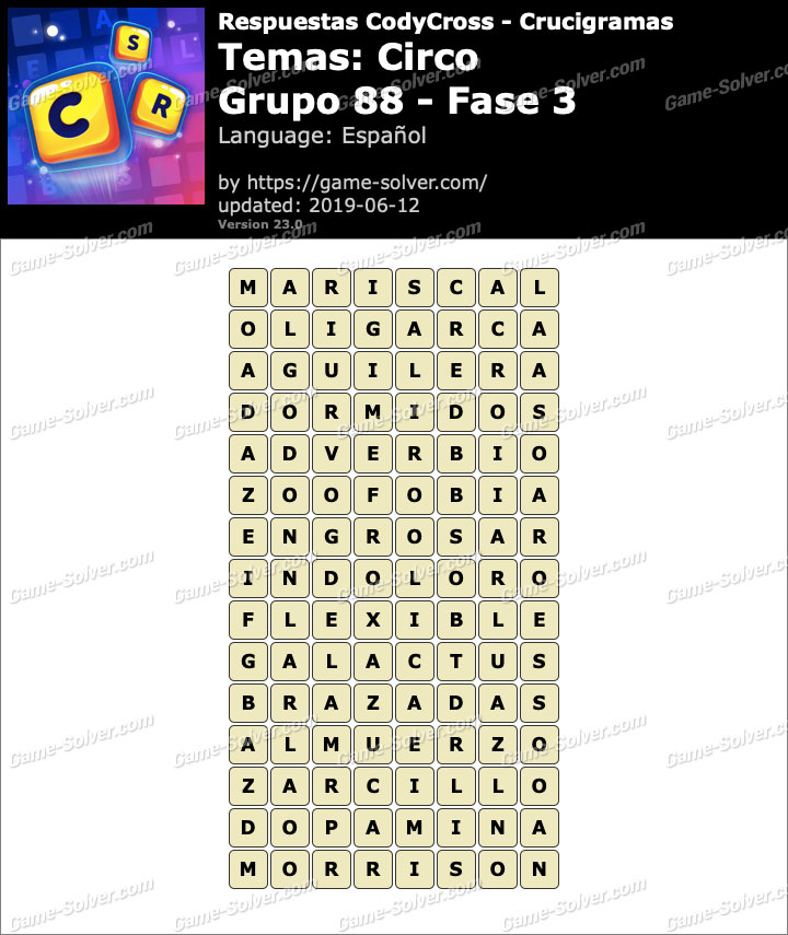 Respuestas CodyCross Circo Grupo 88-Fase 3