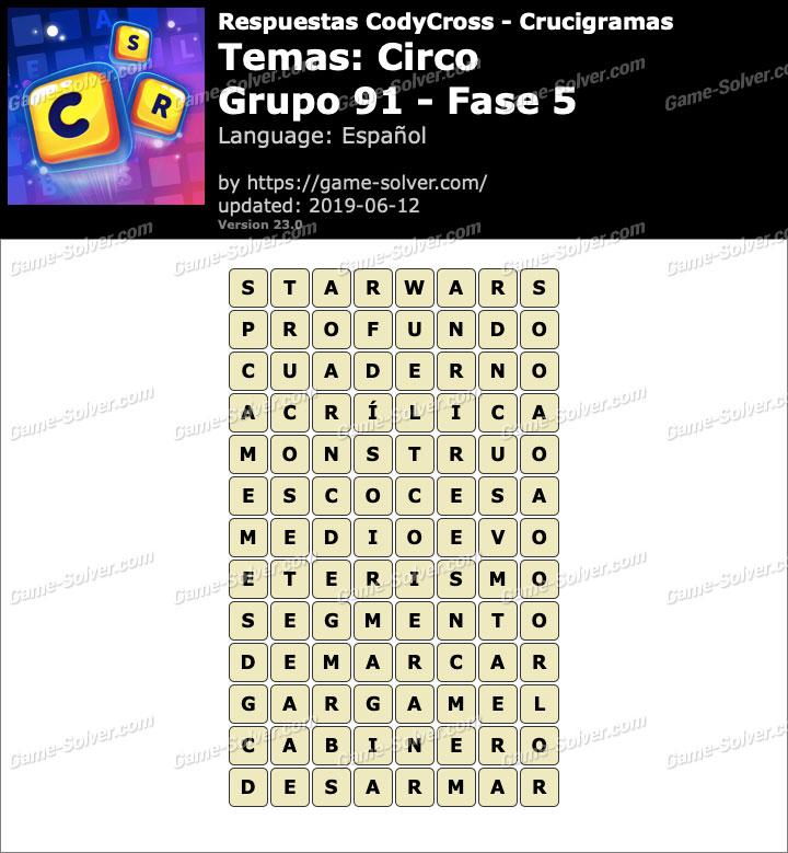 Respuestas CodyCross Circo Grupo 91-Fase 5