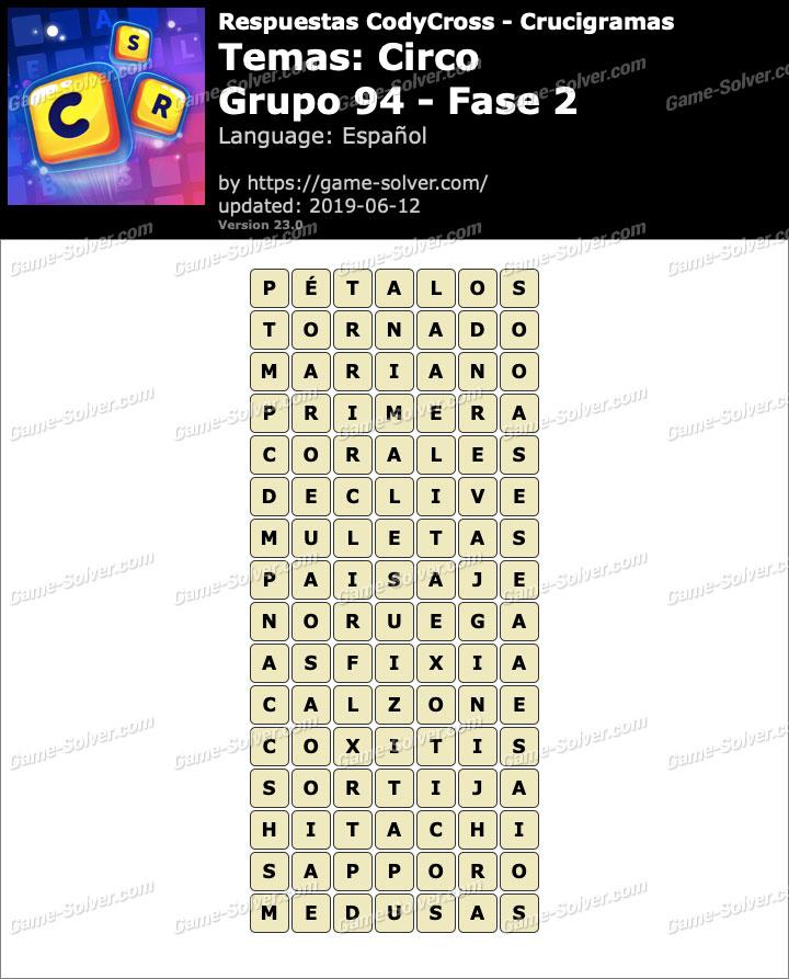 Respuestas CodyCross Circo Grupo 94-Fase 2