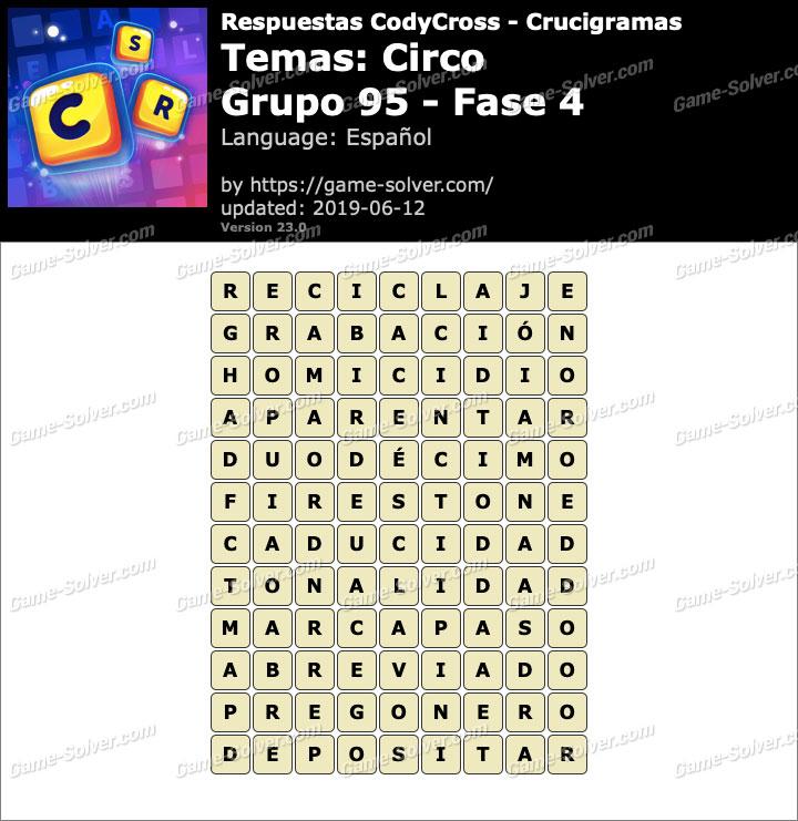 Respuestas CodyCross Circo Grupo 95-Fase 4