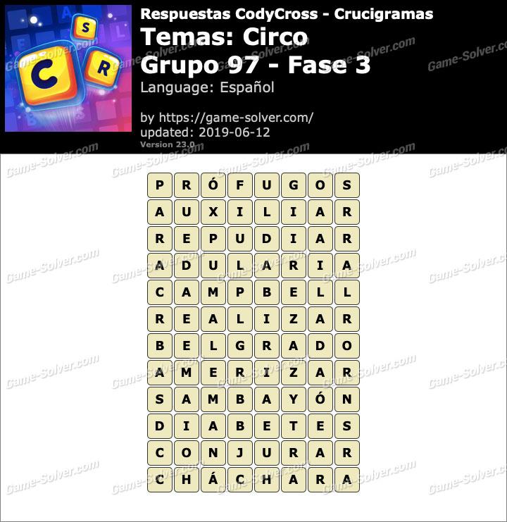 Respuestas CodyCross Circo Grupo 97-Fase 3