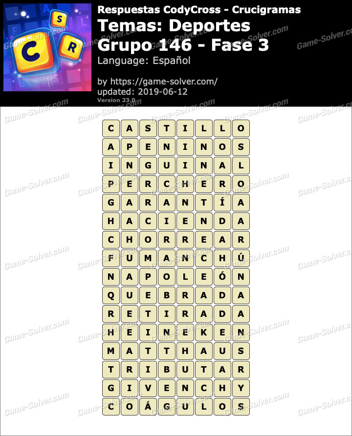 Respuestas CodyCross Deportes Grupo 146-Fase 3