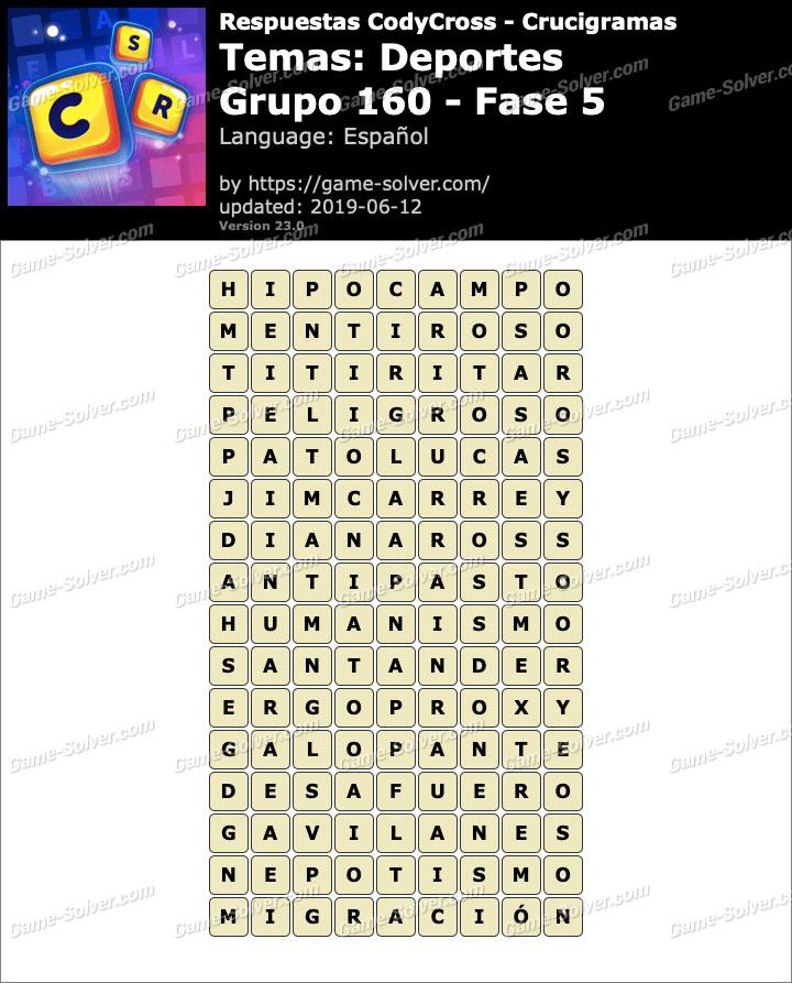 Respuestas CodyCross Deportes Grupo 160-Fase 5