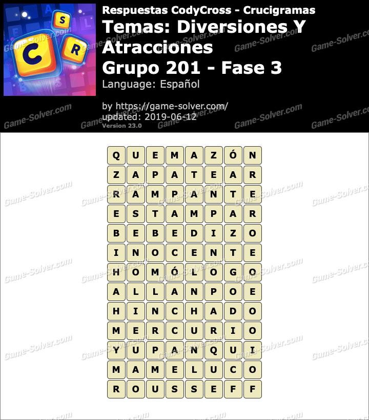 Respuestas CodyCross Diversiones y Atracciones Grupo 201-Fase 3