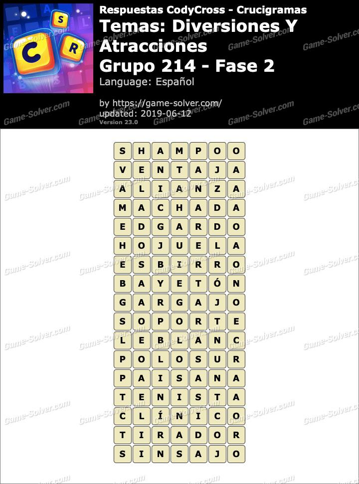 Respuestas CodyCross Diversiones y Atracciones Grupo 214-Fase 2