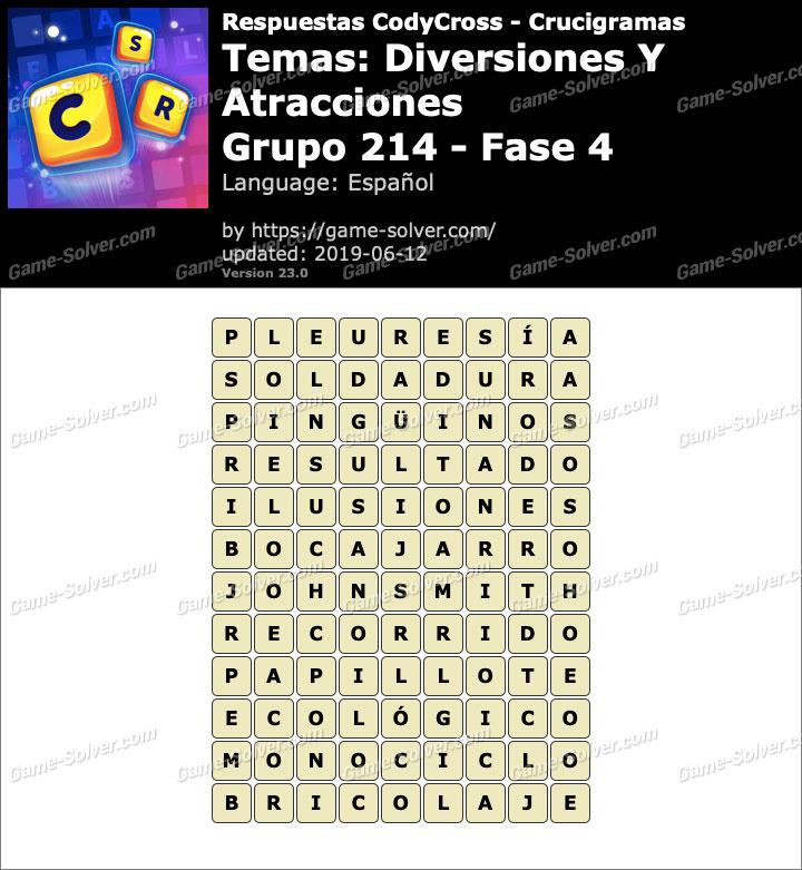 Respuestas CodyCross Diversiones y Atracciones Grupo 214-Fase 4