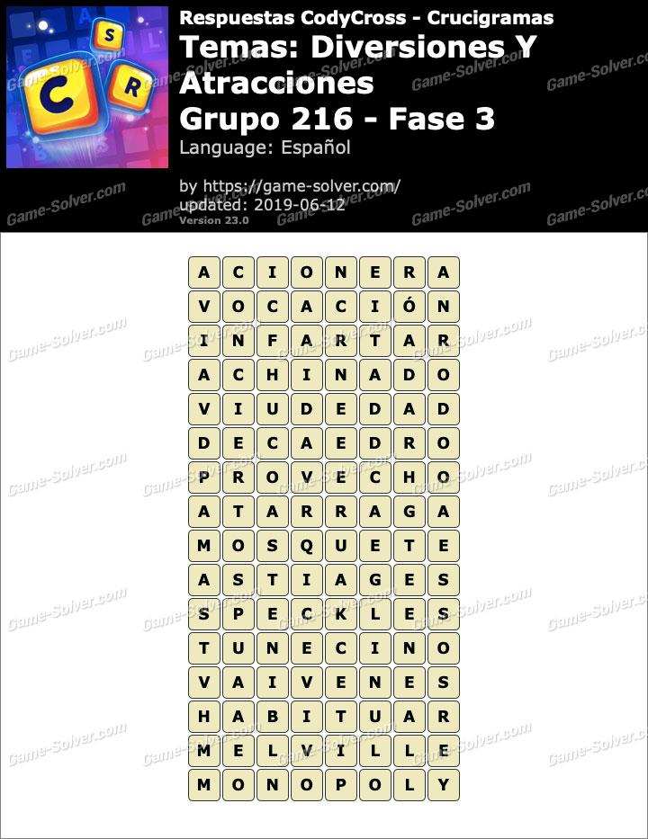 Respuestas CodyCross Diversiones y Atracciones Grupo 216-Fase 3