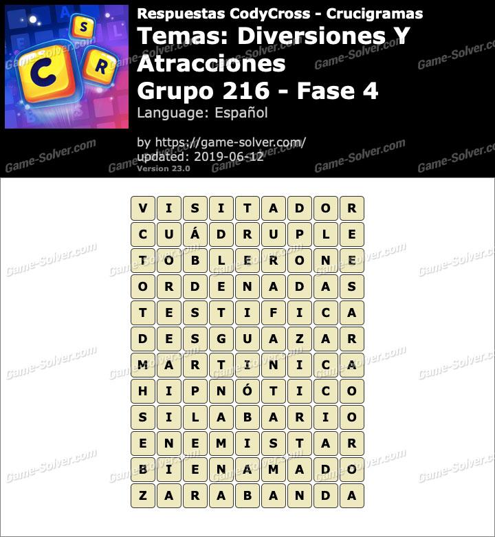Respuestas CodyCross Diversiones y Atracciones Grupo 216-Fase 4