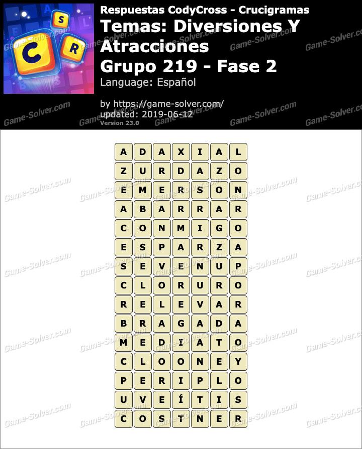 Respuestas CodyCross Diversiones y Atracciones Grupo 219-Fase 2