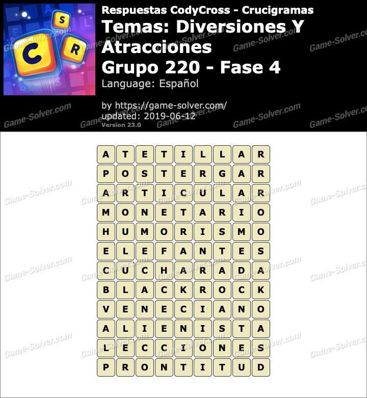 Respuestas CodyCross Diversiones y Atracciones Grupo 220-Fase 4