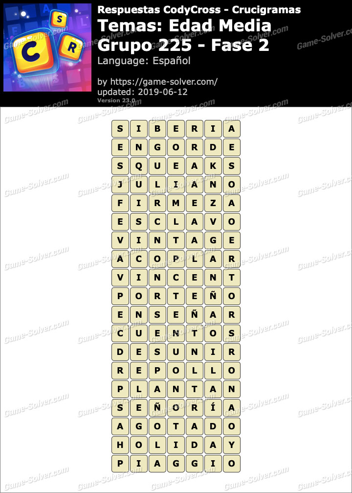 Respuestas CodyCross Edad Media Grupo 225-Fase 2