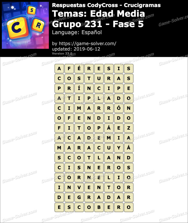 Respuestas CodyCross Edad Media Grupo 231-Fase 5