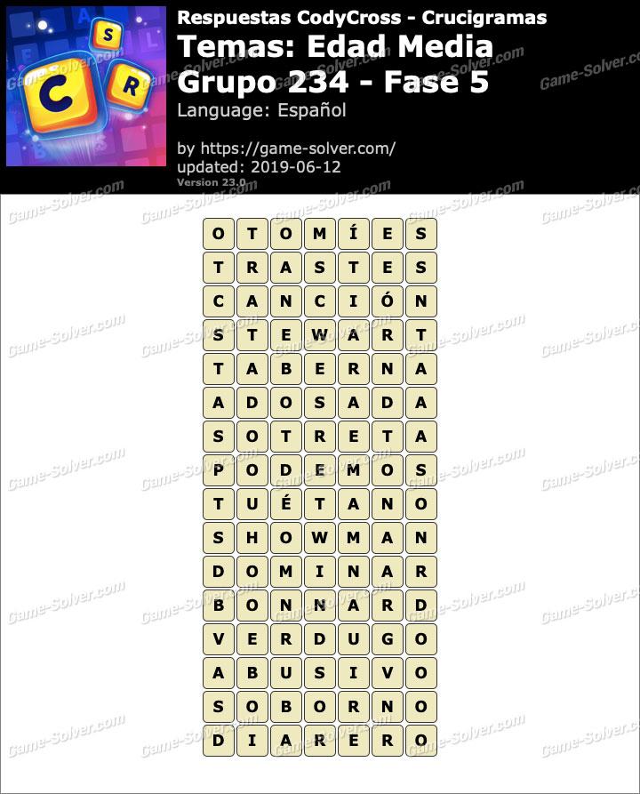 Respuestas CodyCross Edad Media Grupo 234-Fase 5