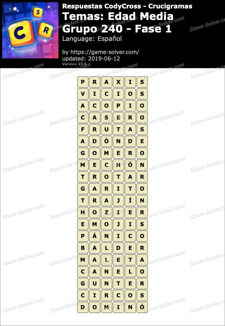 Respuestas CodyCross Edad Media Grupo 240-Fase 1
