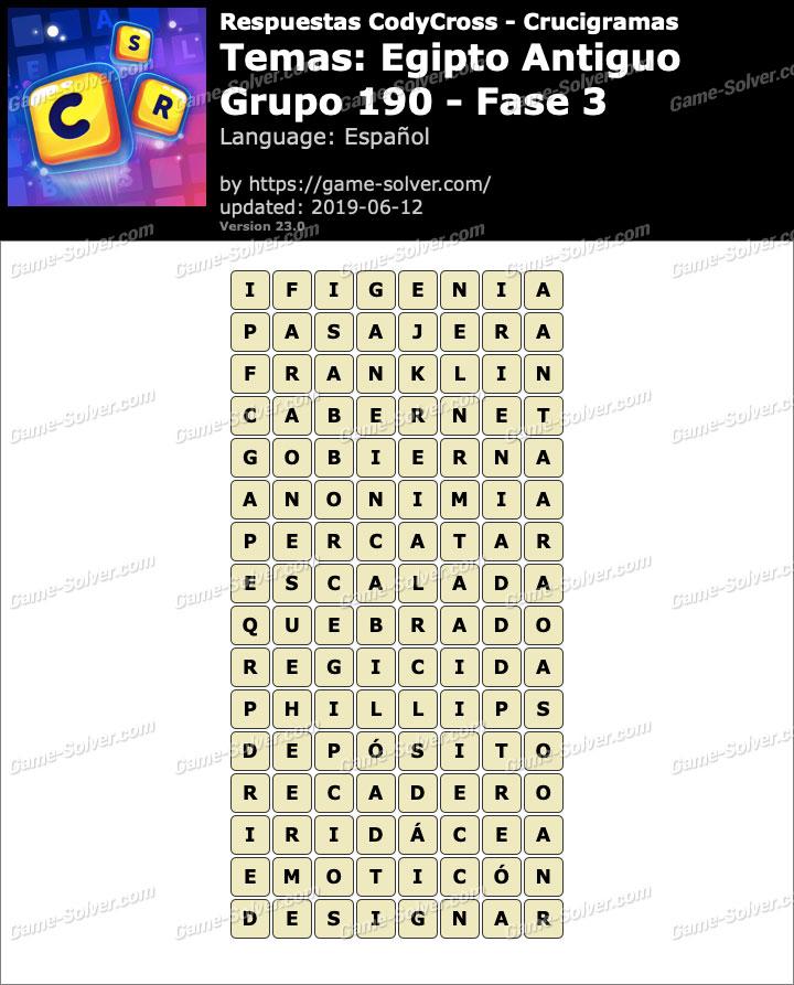 Respuestas CodyCross Egipto Antiguo Grupo 190-Fase 3